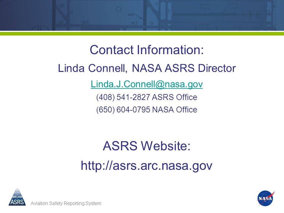 Linda Connell, NASA ASRS Director