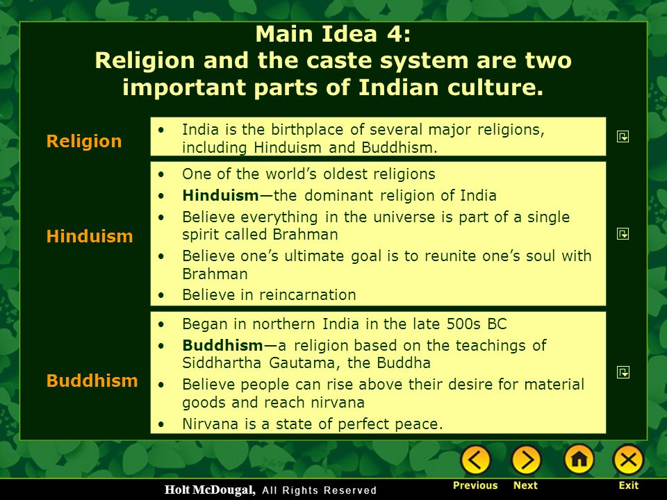 Main Idea 4: Religion and the caste system are two important parts of Indian culture.