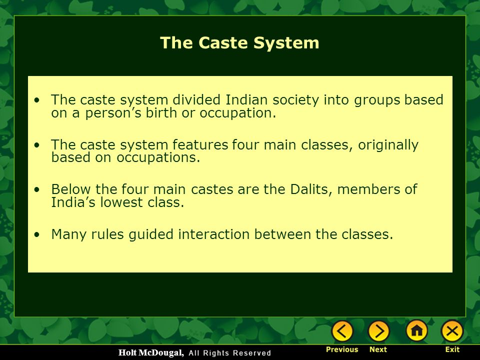The Caste System The caste system divided Indian society into groups based on a person's birth or occupation.