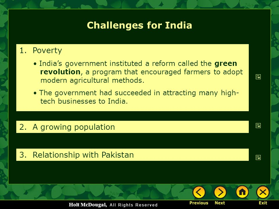 Challenges for India 1. Poverty 2. A growing population
