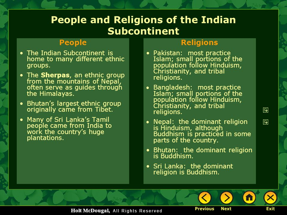 People and Religions of the Indian Subcontinent