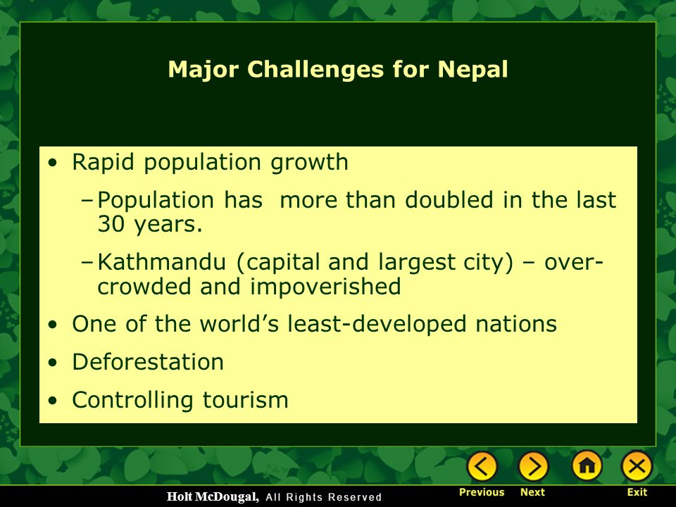 Major Challenges for Nepal