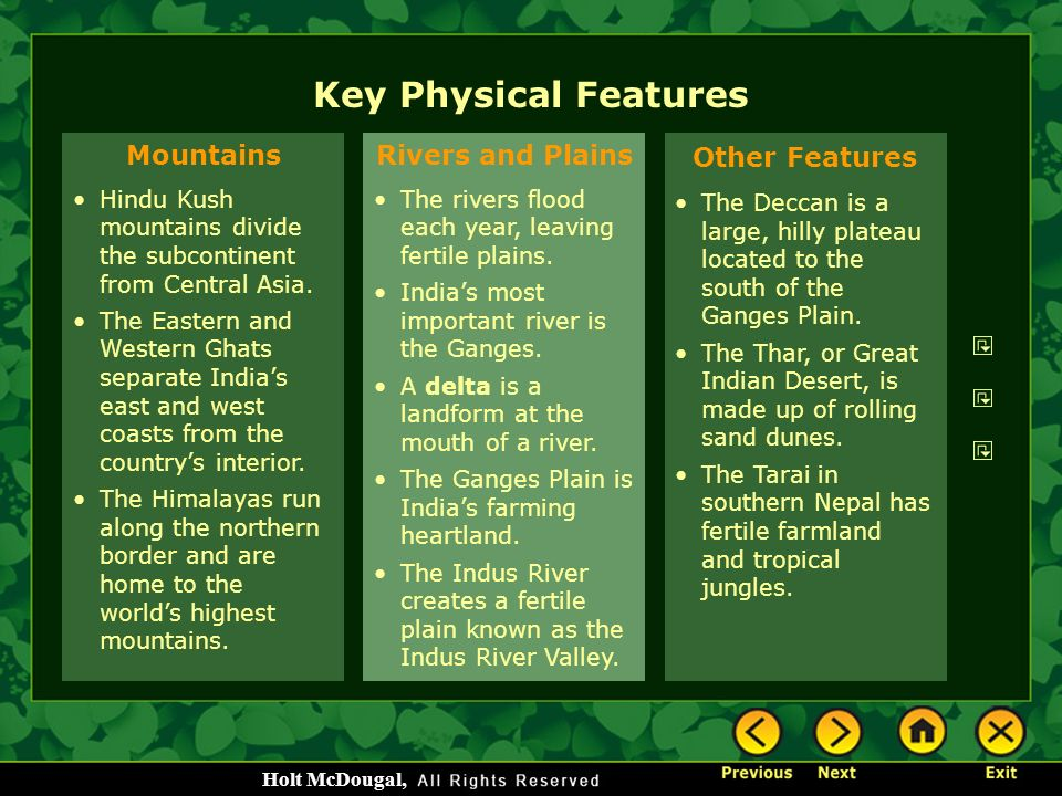 Key Physical Features Mountains Rivers and Plains Other Features