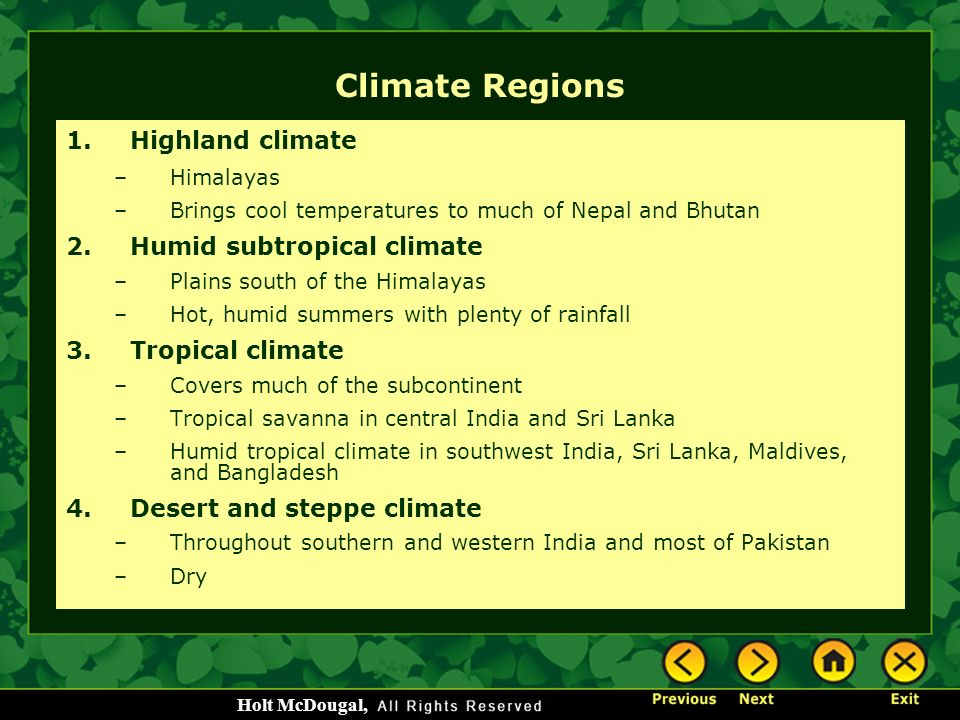 Climate Regions Highland climate Humid subtropical climate