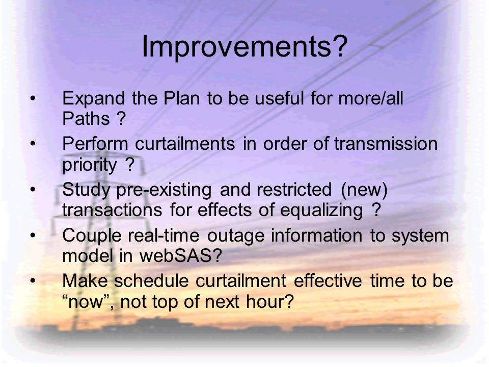 Improvements Expand the Plan to be useful for more/all Paths