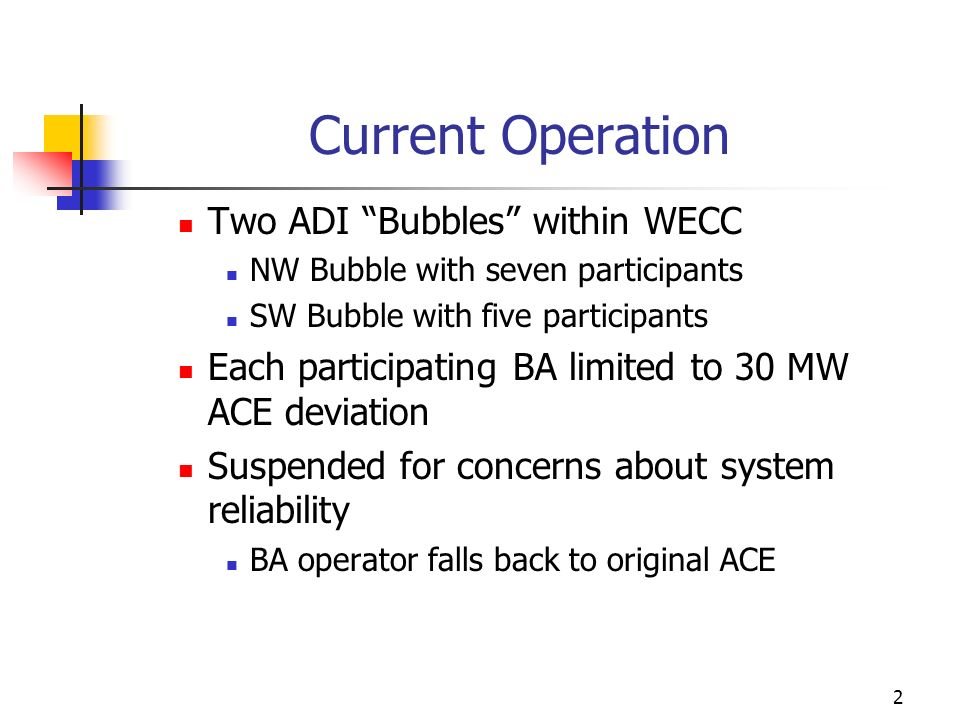 Current Operation Two ADI Bubbles within WECC