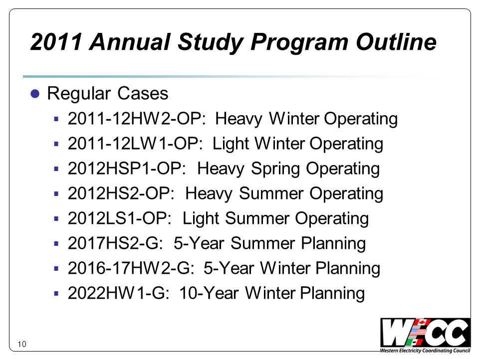 2011 Annual Study Program Outline
