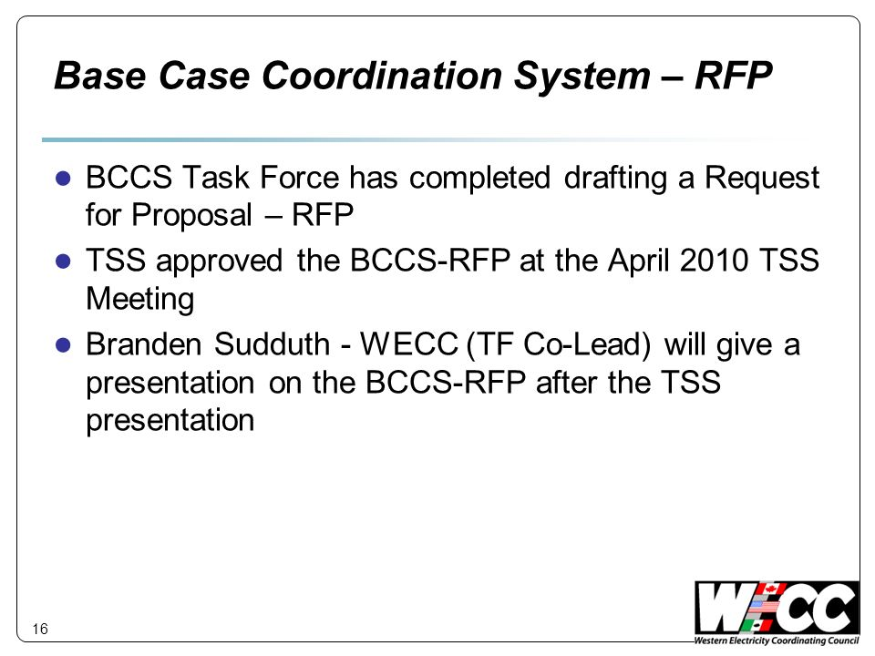 Base Case Coordination System – RFP
