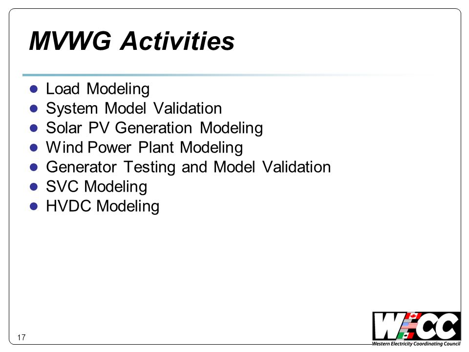 MVWG Activities Load Modeling System Model Validation