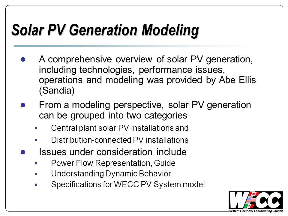 Solar PV Generation Modeling