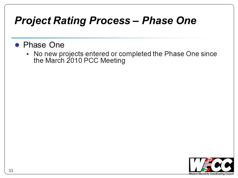 Project Rating Process – Phase One