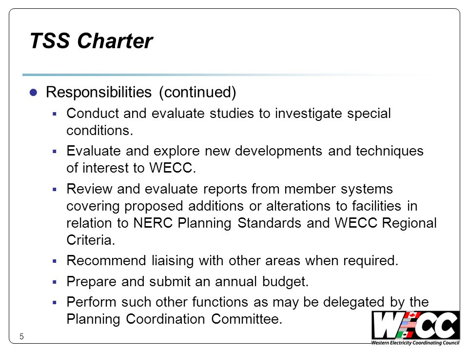 TSS Charter Responsibilities (continued)