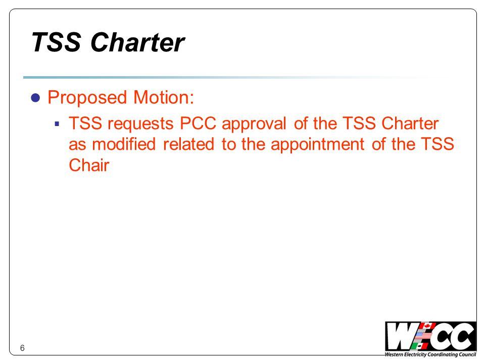 TSS Charter Proposed Motion: