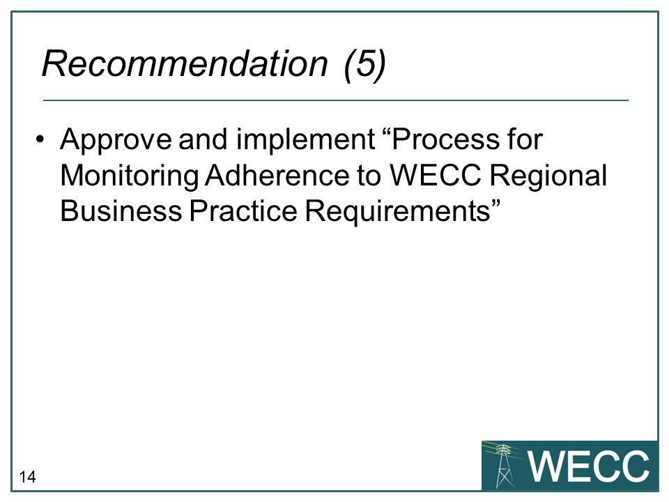 Recommendation (5) Approve and implement Process for Monitoring Adherence to WECC Regional Business Practice Requirements
