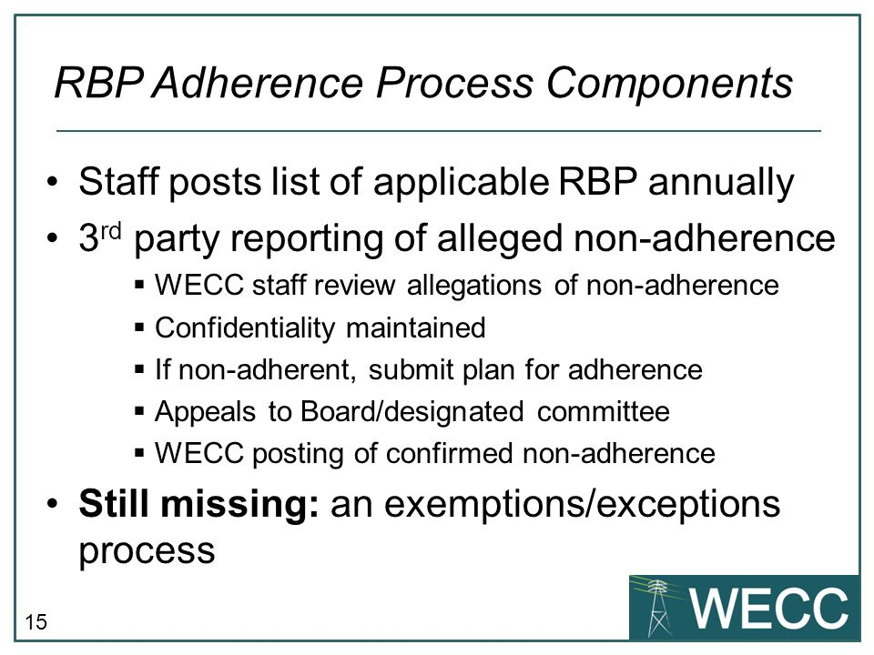 RBP Adherence Process Components