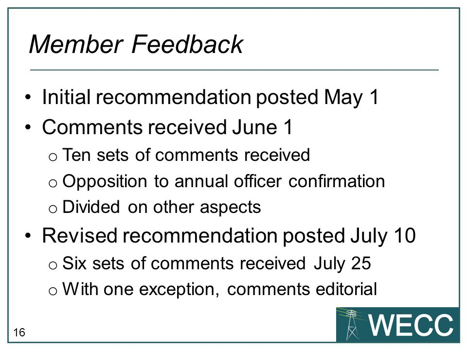Member Feedback Initial recommendation posted May 1