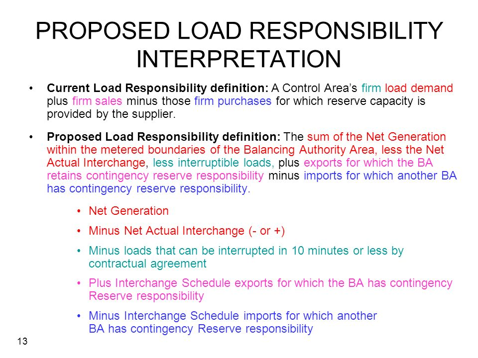 PROPOSED LOAD RESPONSIBILITY INTERPRETATION