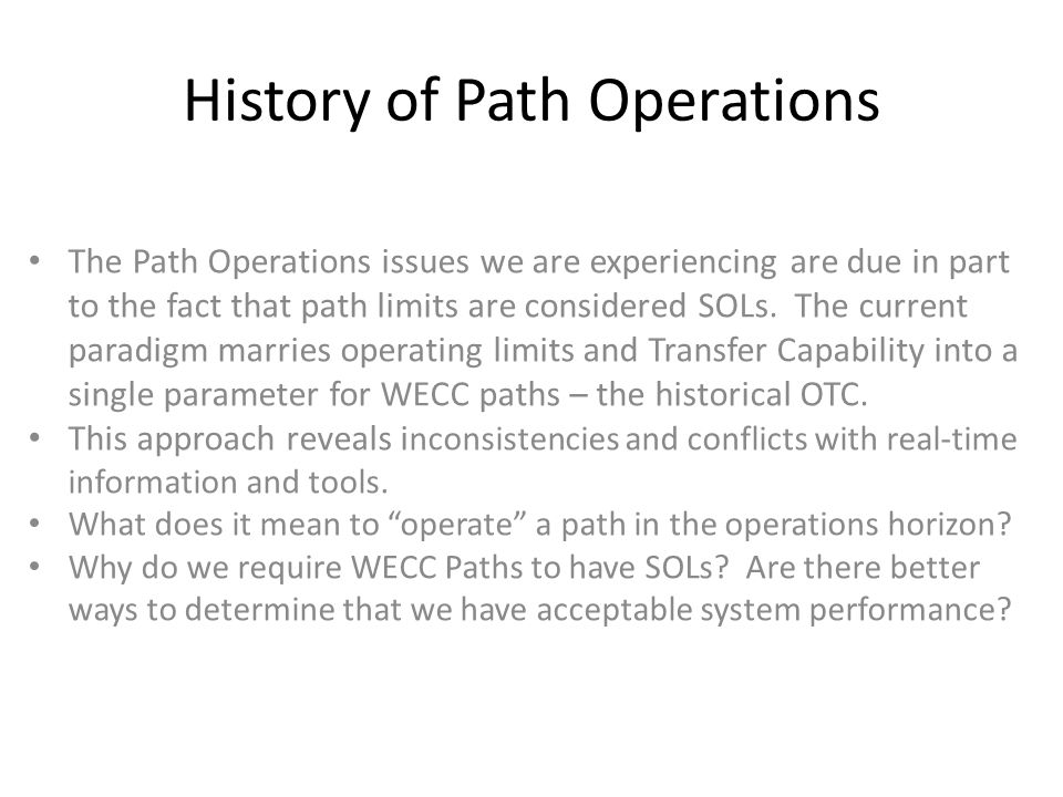 History of Path Operations