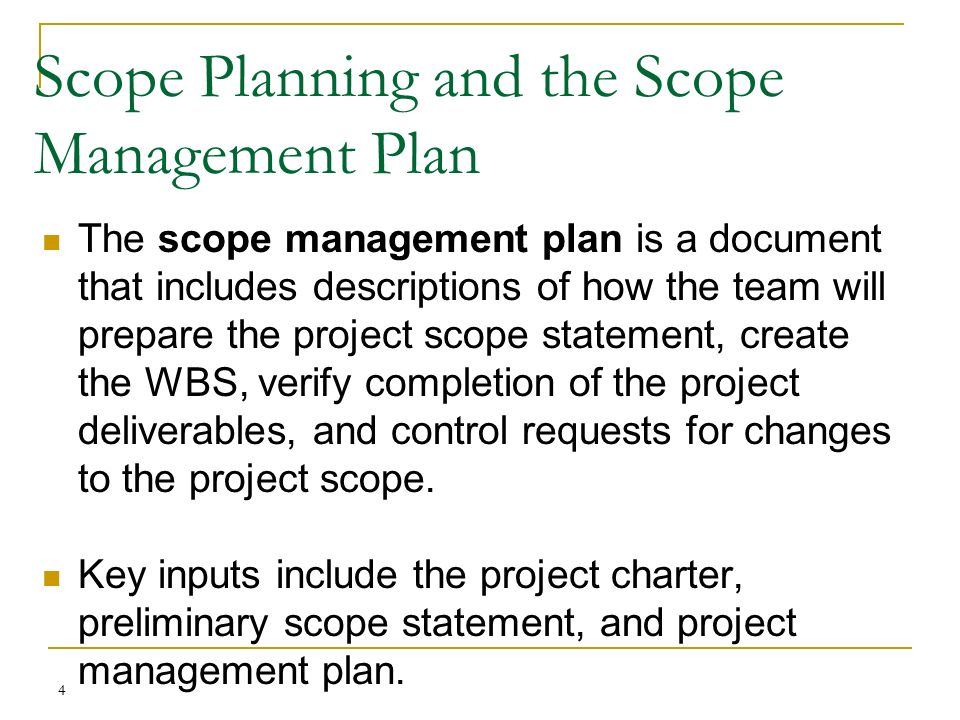 how to create a scope plan