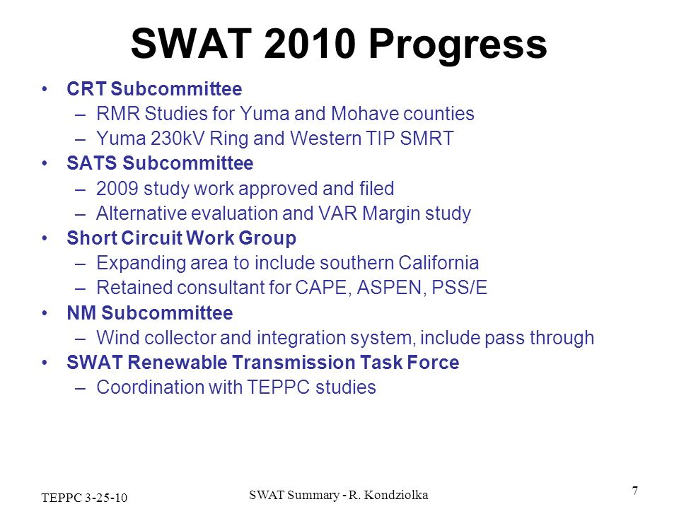SWAT Summary - R. Kondziolka