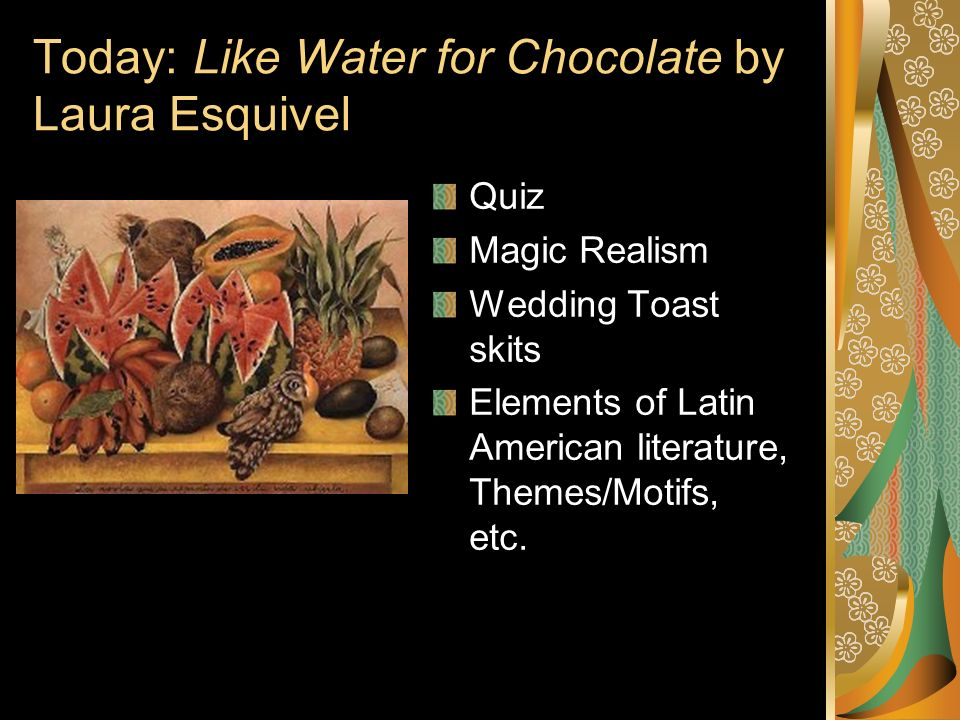 character analysis like water for chocolate Character analysis of tita in esquivel's like water for chocolate connection to food tita shows a very strong connection with food through out the novel she is born into a kitchen, and spends most of her life cooking and preparing food.
