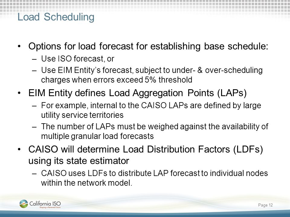 Load Scheduling Options for load forecast for establishing base schedule: Use ISO forecast, or.