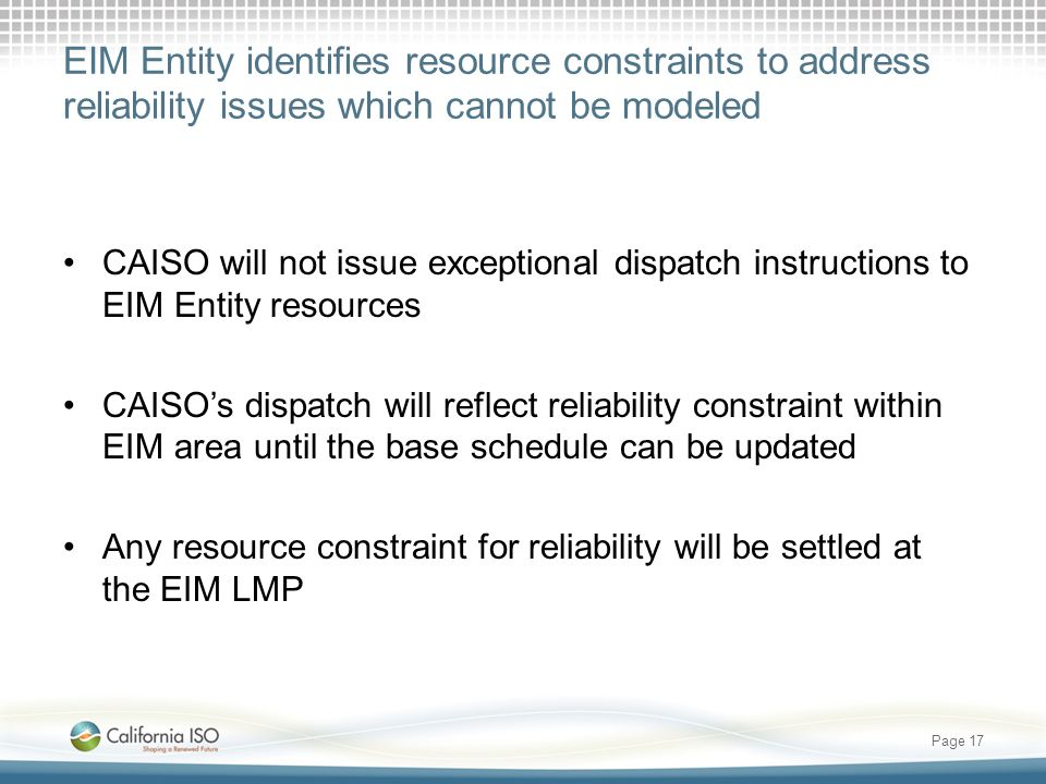 EIM Entity identifies resource constraints to address reliability issues which cannot be modeled