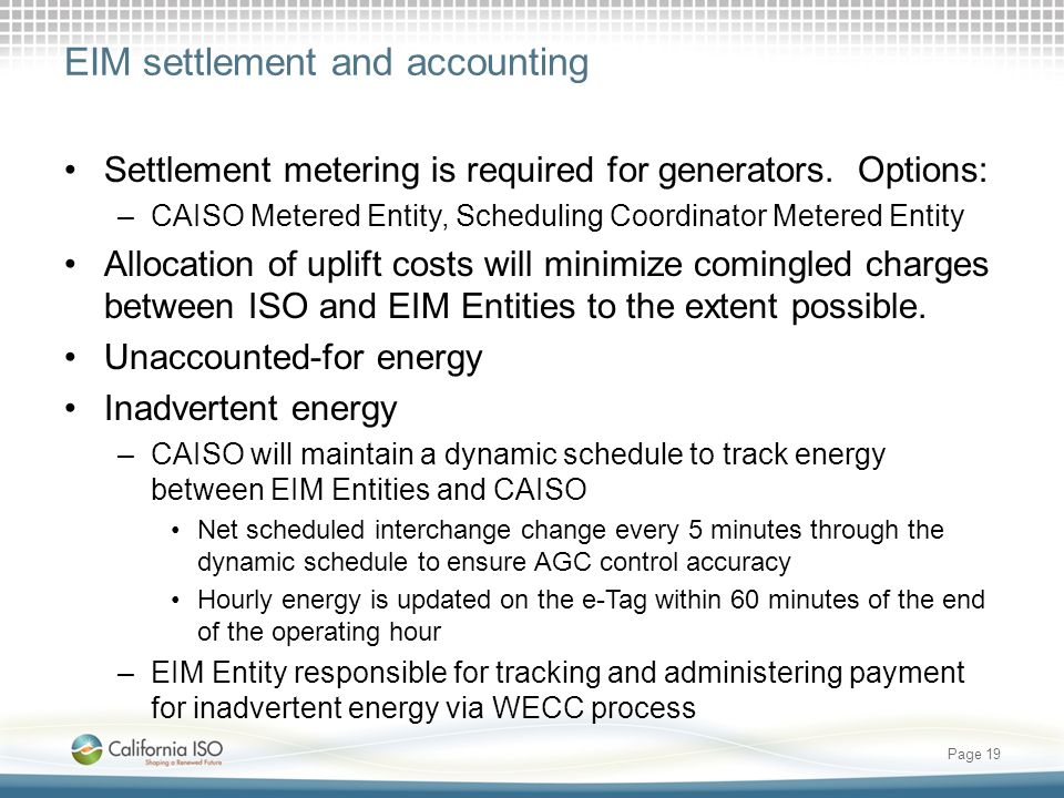 EIM settlement and accounting