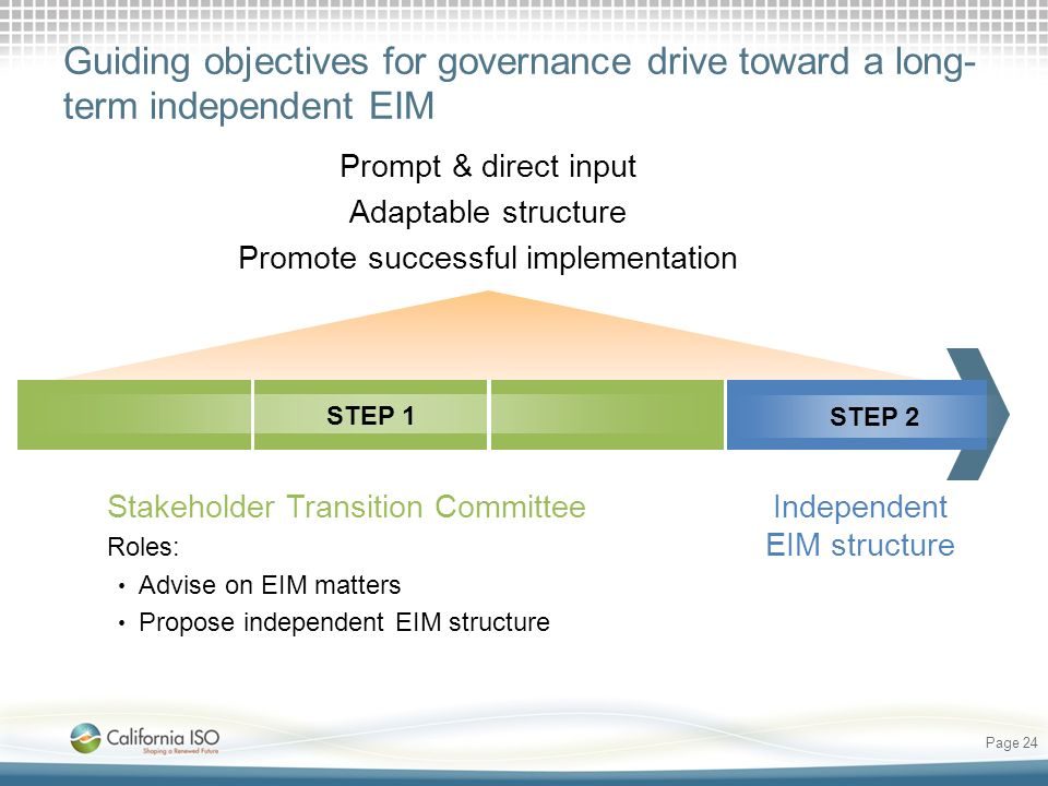 Guiding objectives for governance drive toward a long-term independent EIM