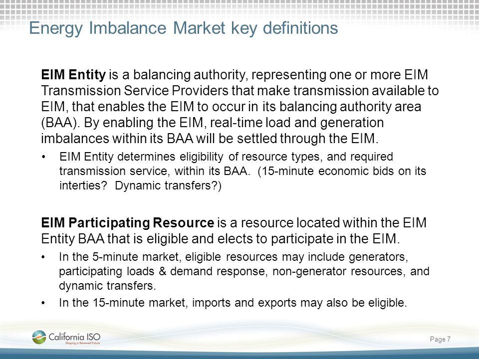 Energy Imbalance Market key definitions