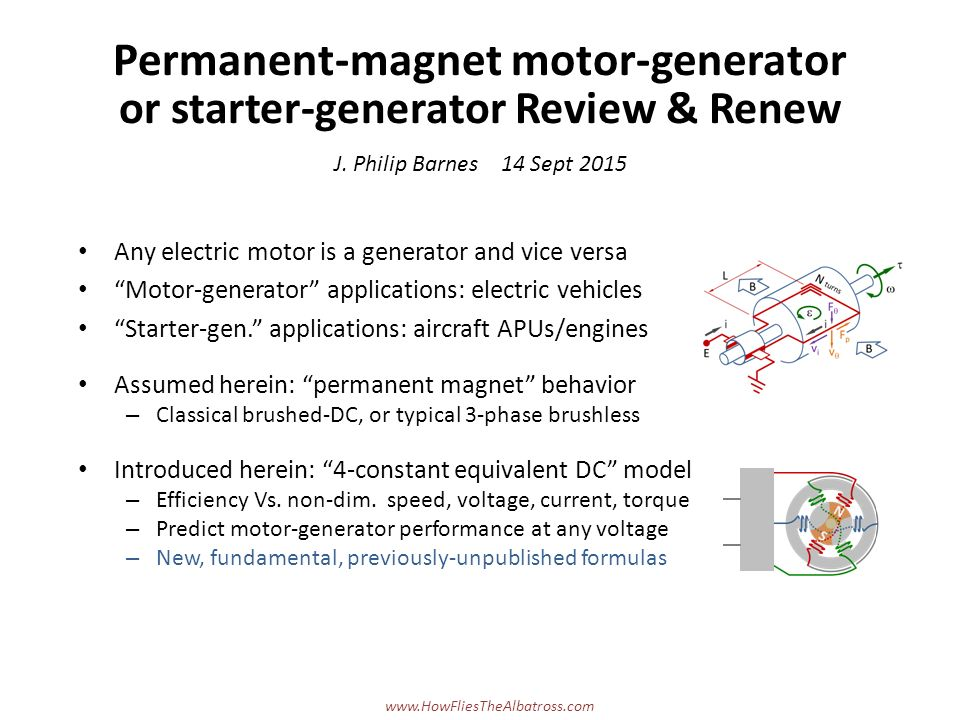 Permanent magnet motor generator or starter generator for What is found in a generator and motor