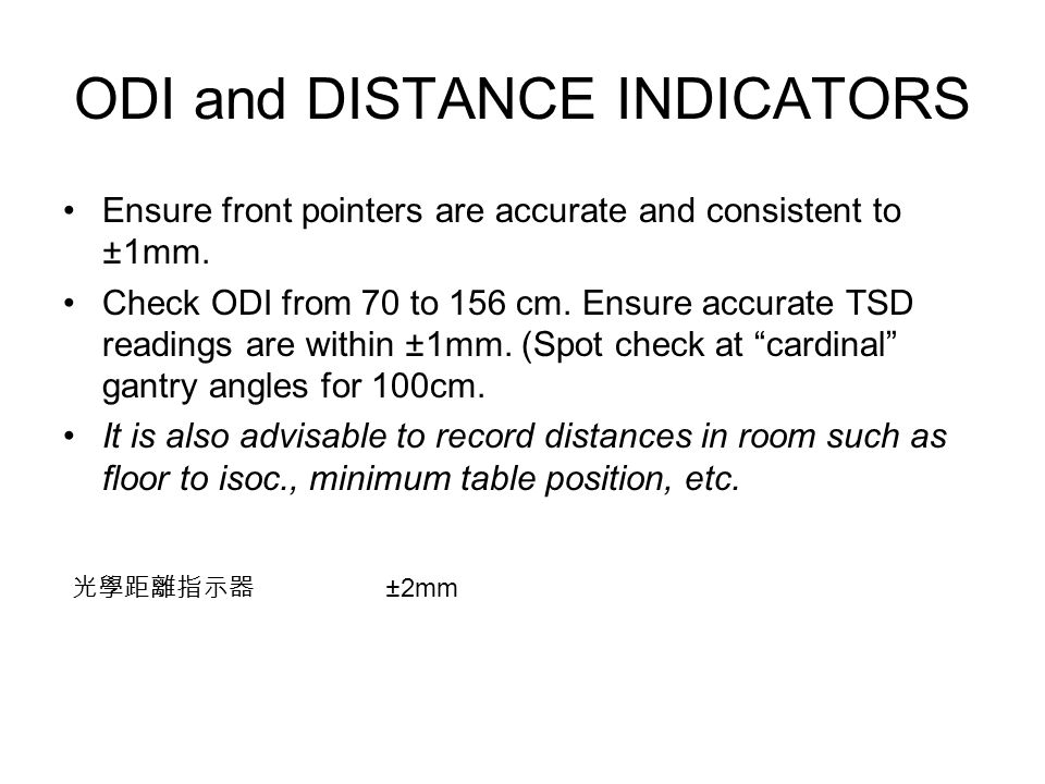 ODI and DISTANCE INDICATORS