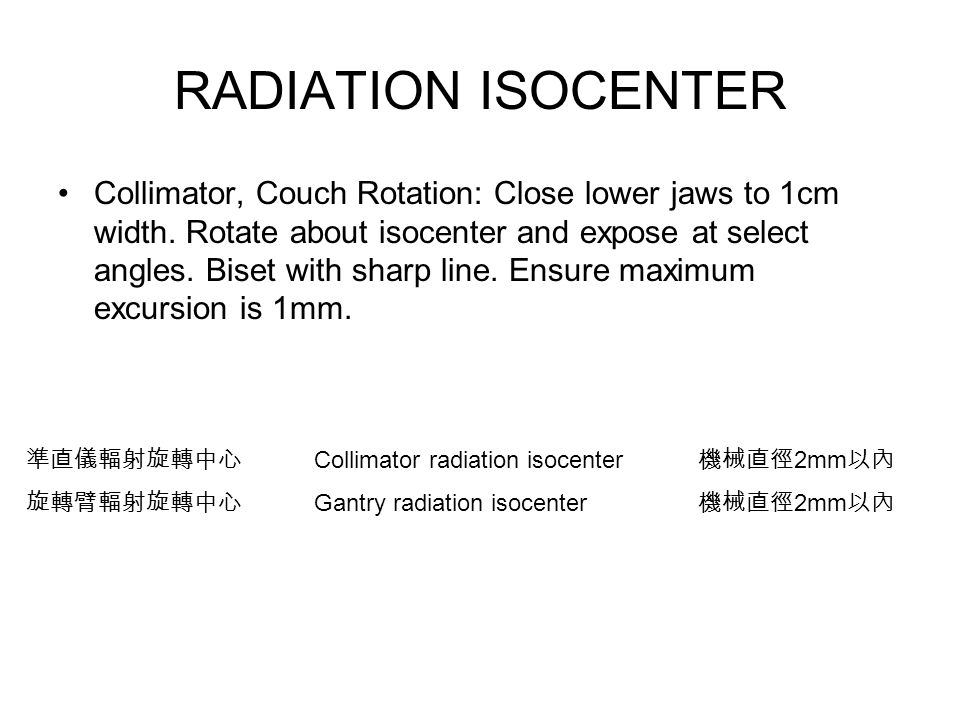 RADIATION ISOCENTER