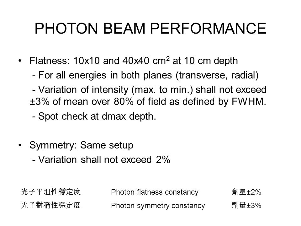 PHOTON BEAM PERFORMANCE