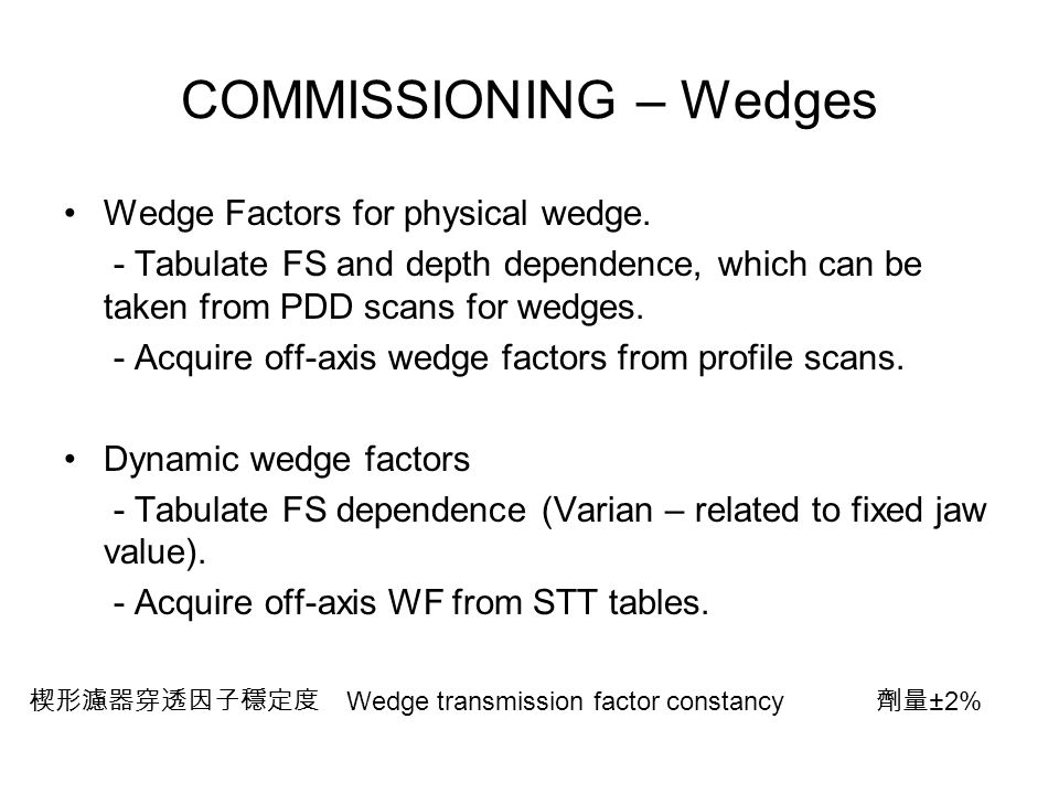 COMMISSIONING – Wedges