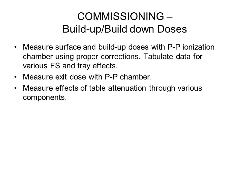 COMMISSIONING – Build-up/Build down Doses