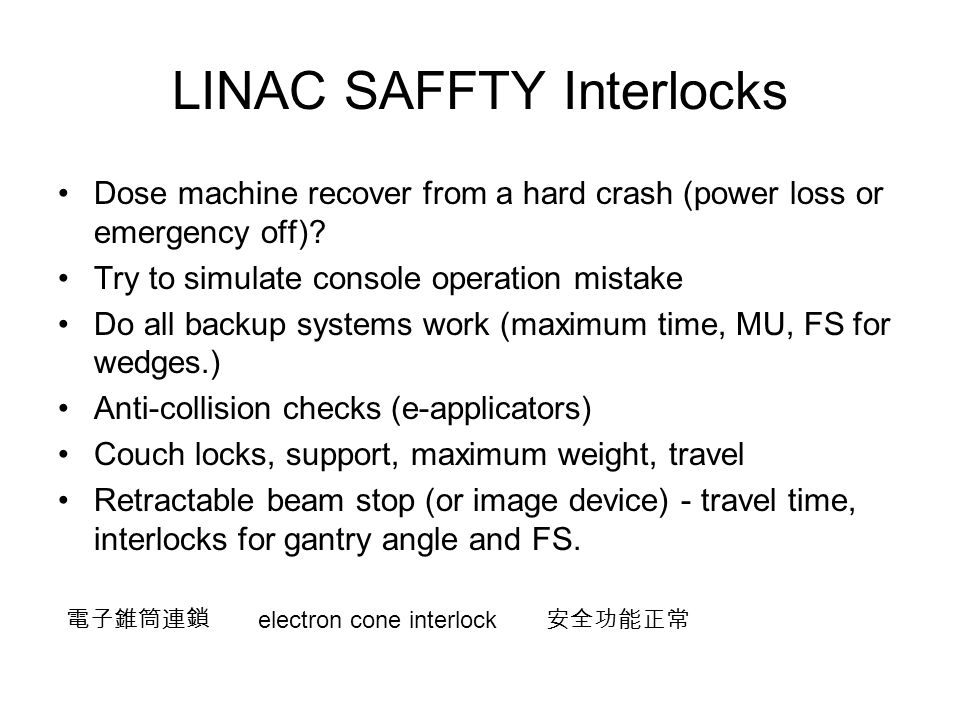 LINAC SAFFTY Interlocks