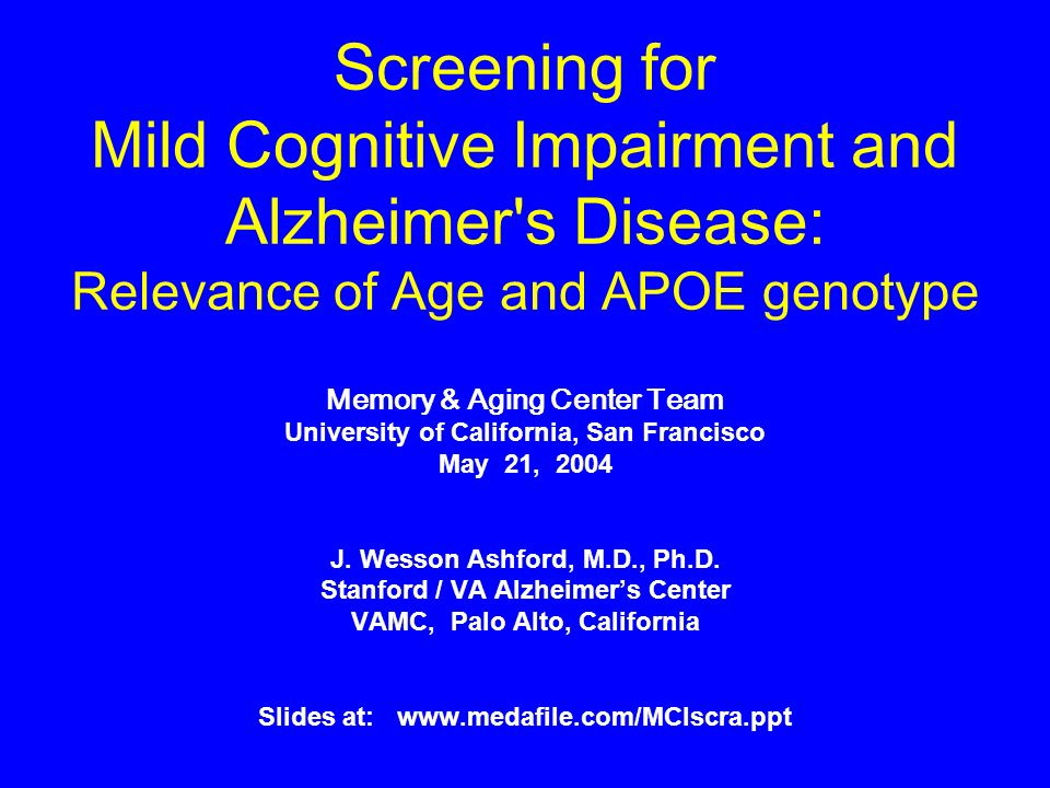 screening for mild cognitive impairment and alzheimers disease relevance of age and apoe genotype ppt video online download