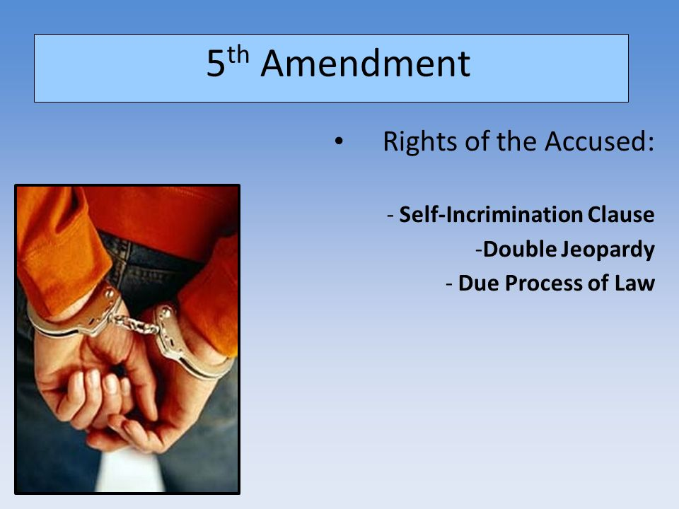 double jeopardy the 5th amendment Amazoncom: the fifth amendment: double jeopardy, self-incrimination, and due process of law (amendments to the united states constitution: the bill of rights) (9781448823062): corona brezina: books.