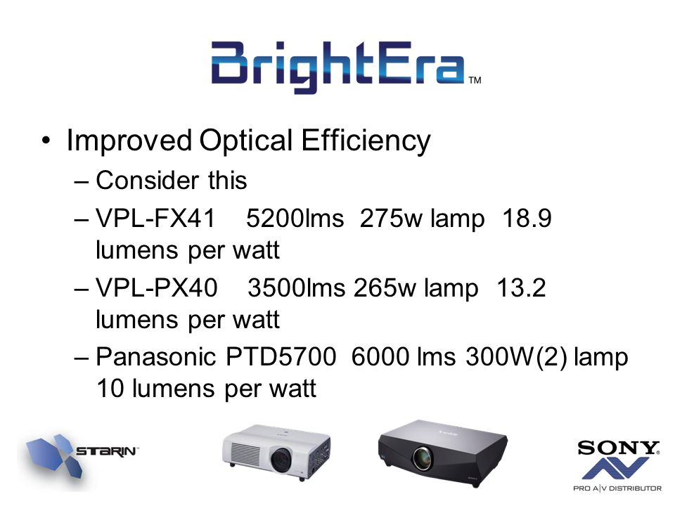 Improved Optical Efficiency