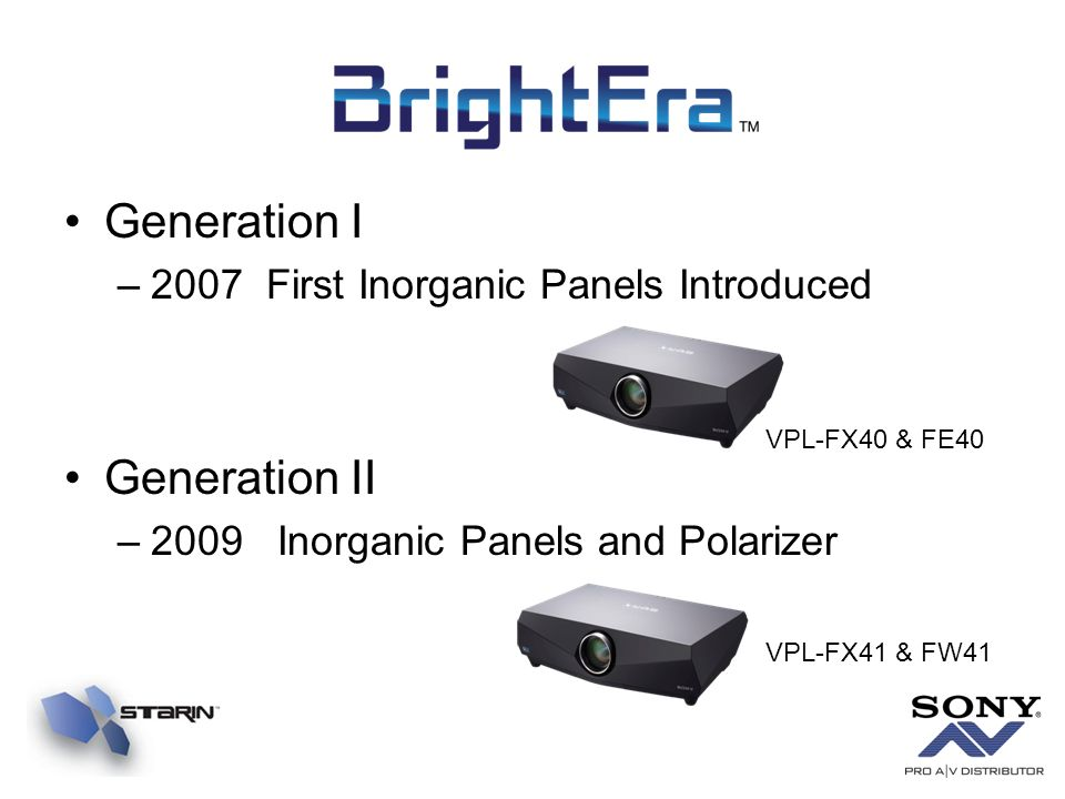 Generation I Generation II 2007 First Inorganic Panels Introduced