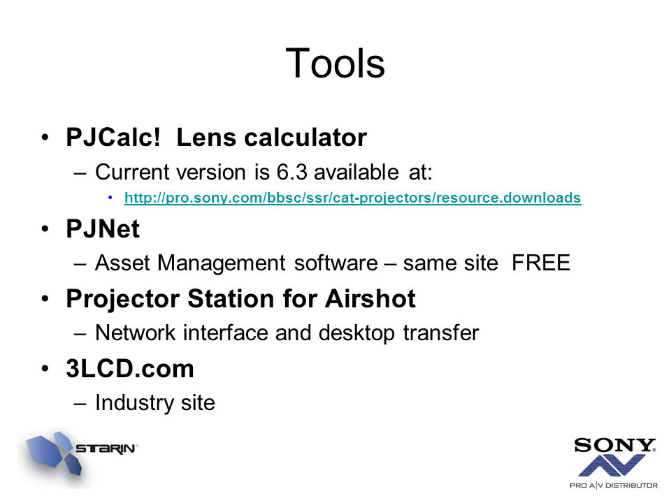 Tools PJCalc! Lens calculator PJNet Projector Station for Airshot