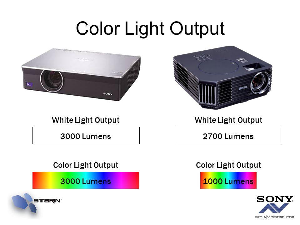 Color Light Output White Light Output White Light Output 3000 Lumens