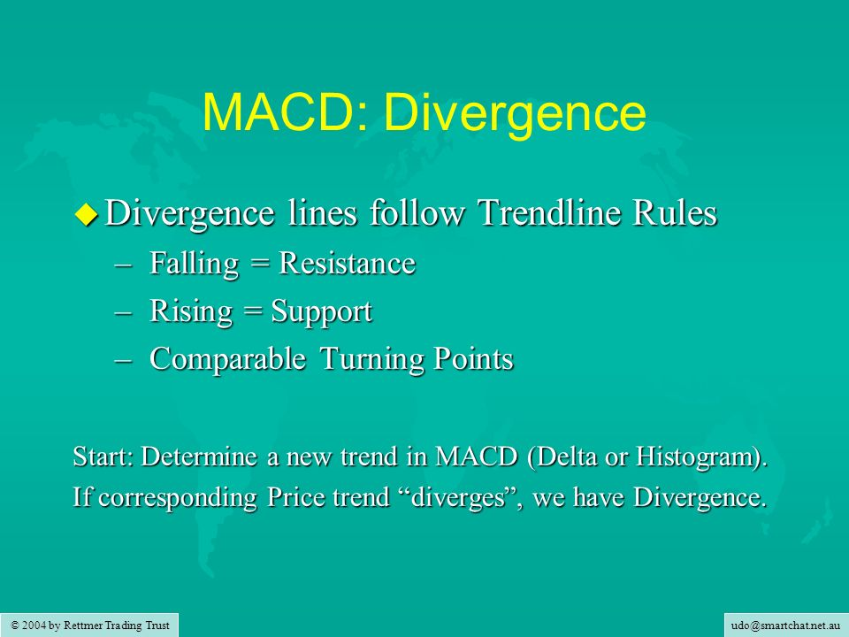 MACD: Divergence Divergence lines follow Trendline Rules