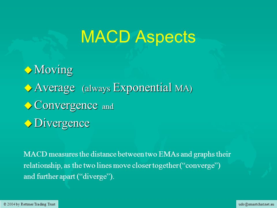 MACD Aspects Moving Average (always Exponential MA) Convergence and