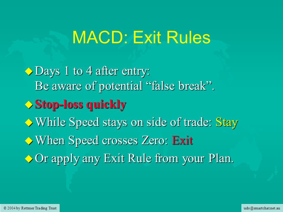 MACD: Exit Rules Days 1 to 4 after entry: Be aware of potential false break . Stop-loss quickly. While Speed stays on side of trade: Stay.