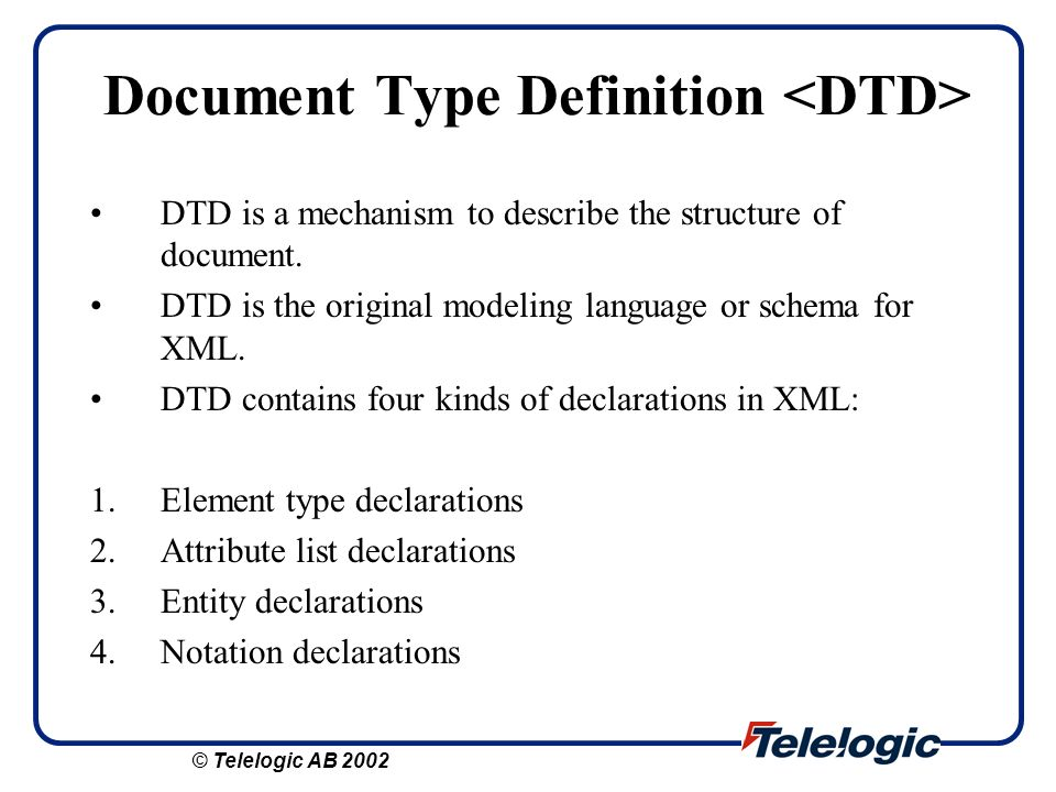 Document Type Definition <DTD>