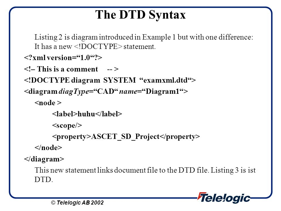 The DTD Syntax Listing 2 is diagram introduced in Example 1 but with one difference: It has a new <!DOCTYPE> statement.