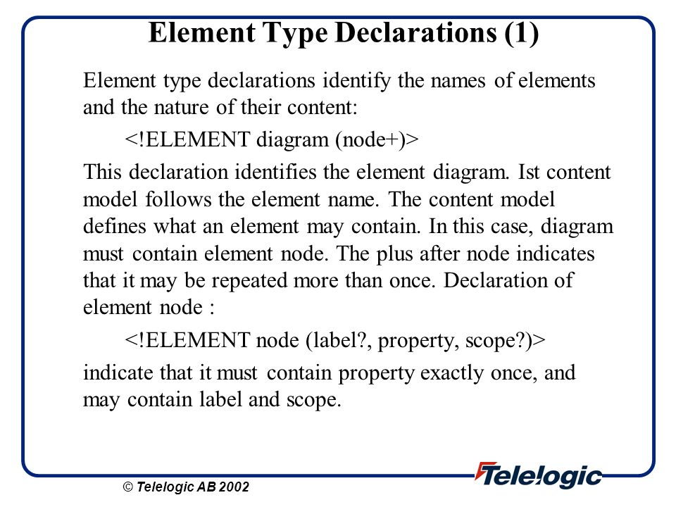 Element Type Declarations (1)