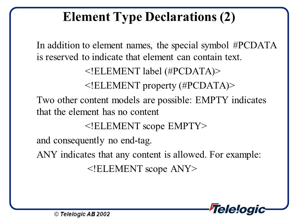 Element Type Declarations (2)
